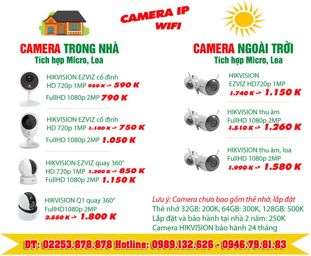 Bảng báo giá camera wifi