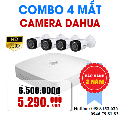 TRỌN BỘ 04 CAMERA DAHUA  HD - 1.0MP