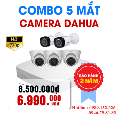 TRỌN BỘ 05 CAMERA DAHUA  HD - 1.0MP