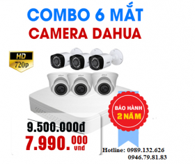 TRỌN BỘ 06 CAMERA DAHUA  HD - 1.0MP
