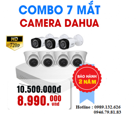 TRỌN BỘ 07 CAMERA DAHUA  HD - 1.0MP