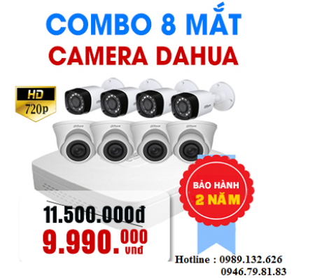 TRỌN BỘ 08 CAMERA DAHUA  HD - 1.0MP